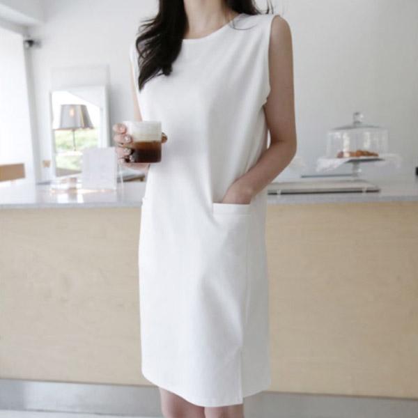 優雅素面洋裝