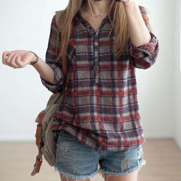 成熟格紋口袋襯衫