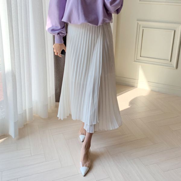典雅綁帶百褶長裙