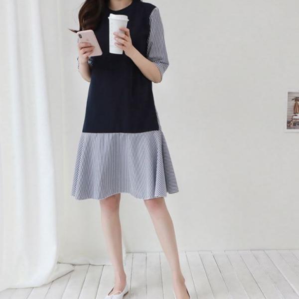 文青拼接條紋洋裝