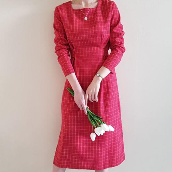 格紋綁帶典雅洋裝