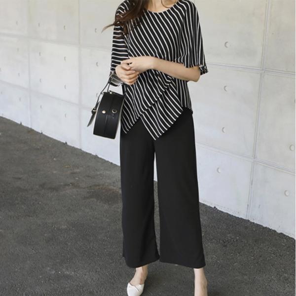 時尚剪裁顯瘦寬褲套裝