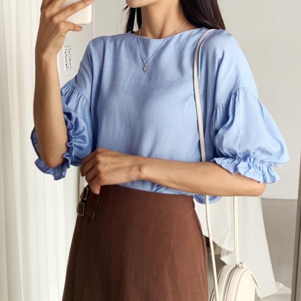 可愛女孩後扣縮袖上衣,正韓,正韓商品,氣質,優雅,中大尺碼