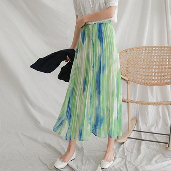 色彩暈染百褶裙