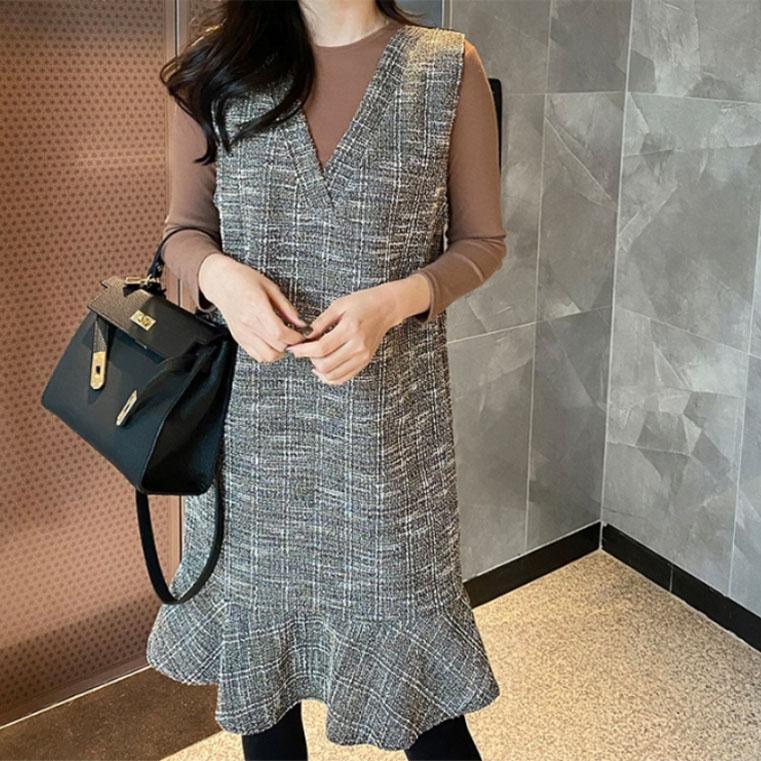 兩件式V領背心裙套裝,正韓,正韓商品,日常,氣質,休閒