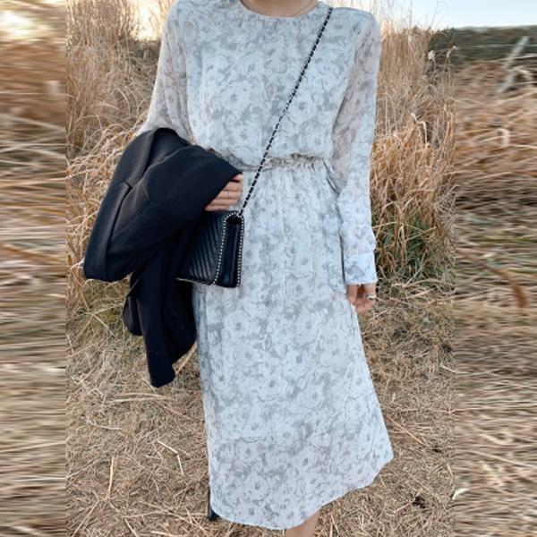 復古印花雪紡洋裝