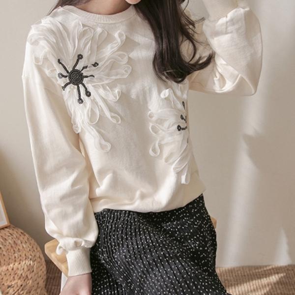 蕾絲立體繡花上衣,正韓,正韓商品,中大尺碼,簡約,休閒