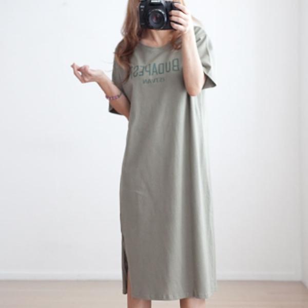 休閒字母短袖洋裝