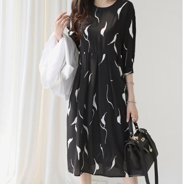黑白落葉休閒洋裝