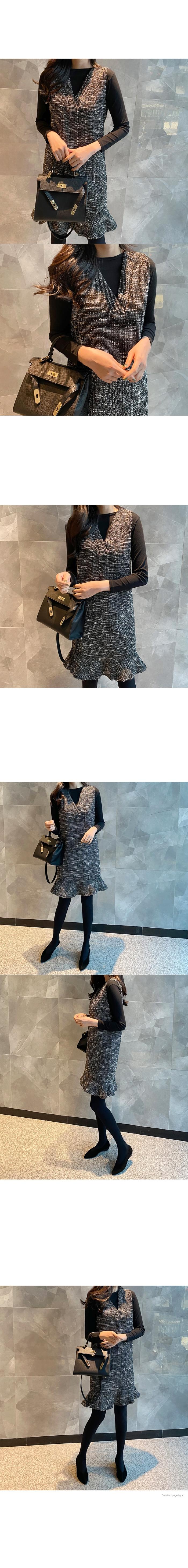 兩件式V領背心裙套裝