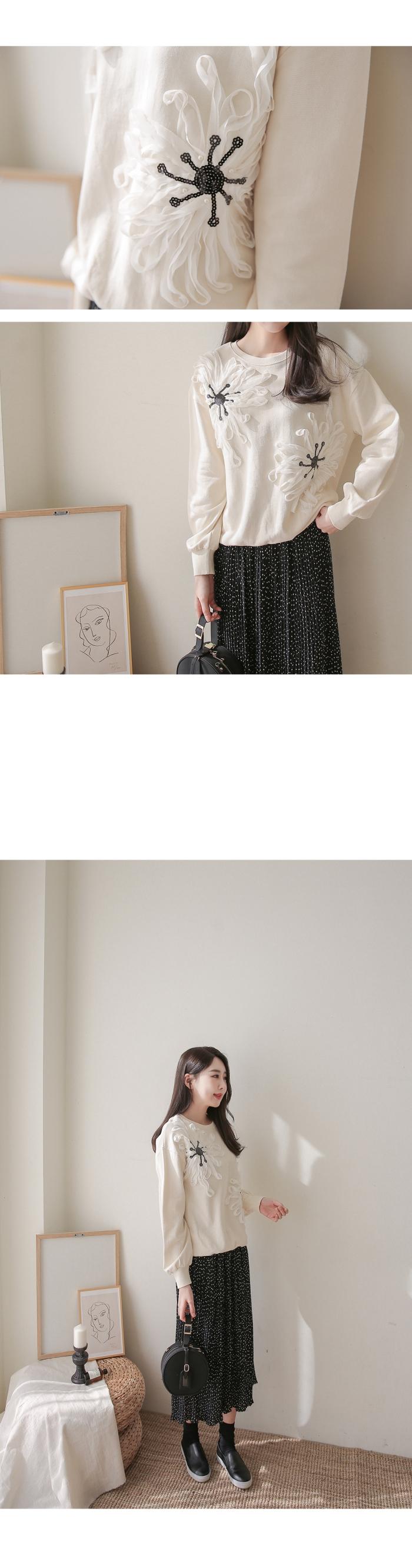 蕾絲立體繡花上衣