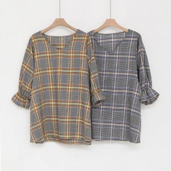 經典格紋V領上衣,正韓,正韓商品,上衣,格紋,泡袖