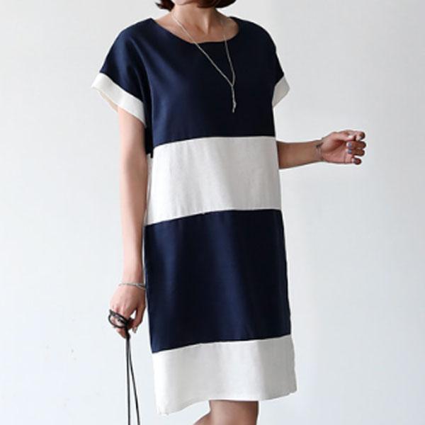 拼接圓領開衩洋裝,正韓,正韓商品,洋裝,長裙,拼接