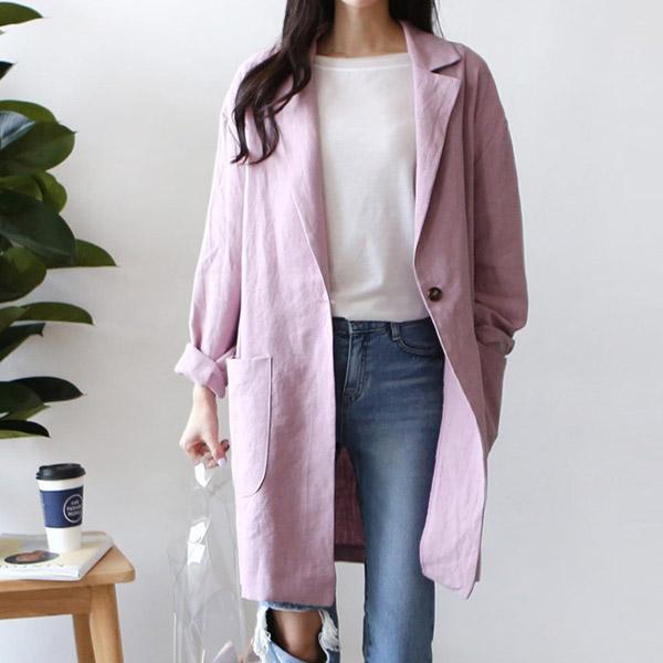 棉麻單釦西裝外套