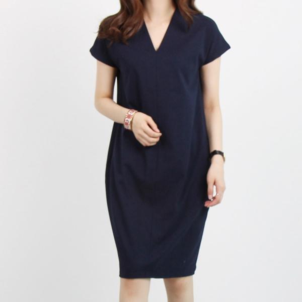 純色V領短袖洋裝