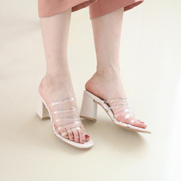 果凍線條低跟涼拖鞋