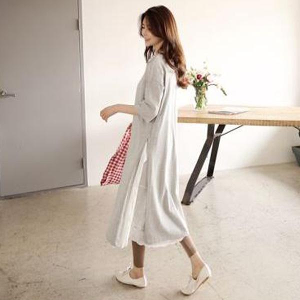 純色開衩長洋裝