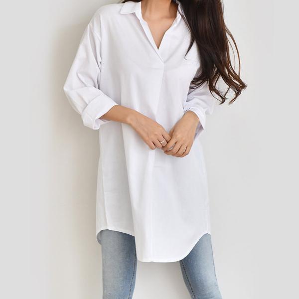 經典V領長版襯衫