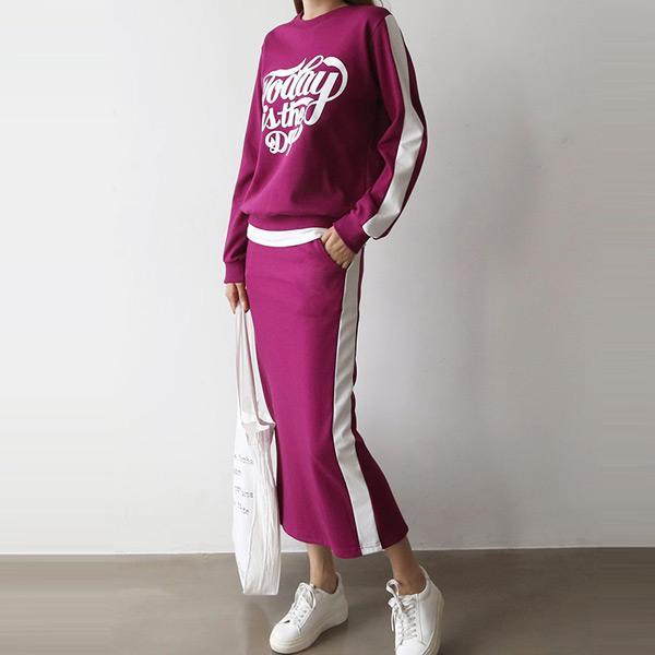運動風字母長裙套裝