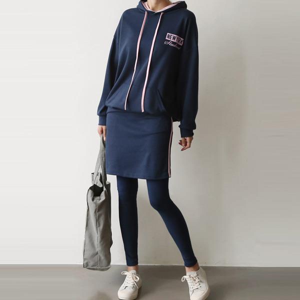 紐約連帽褲裙套裝,正韓,正韓商品,中大尺碼,套裝,上衣