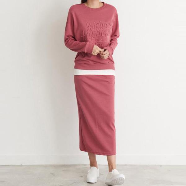 簡約鋼印字母裙套裝