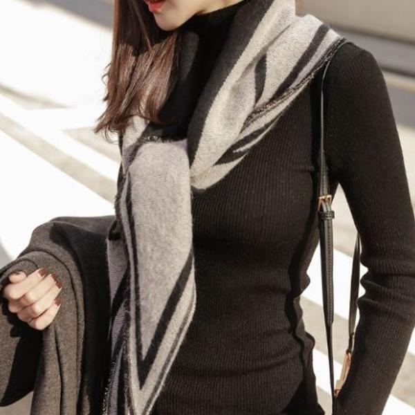 簡約幾何保暖圍巾