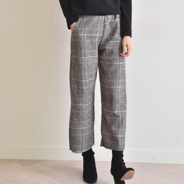 簡約高領細格褲套裝
