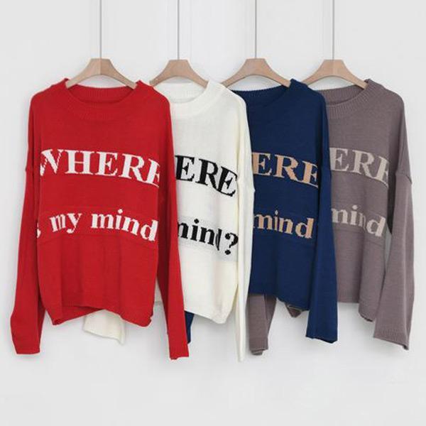 可愛字母針織上衣,正韓,正韓商品,中大尺碼,上衣,毛衣
