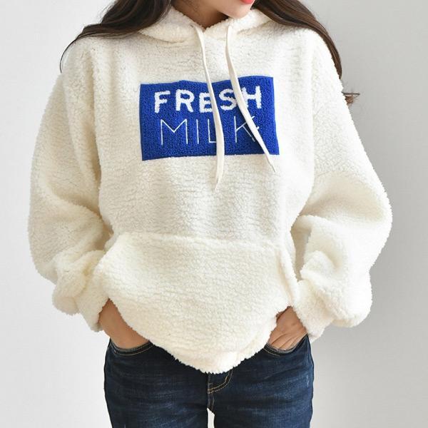 FRESH MILK羊羔毛連帽上衣,正韓,正韓商品,中大尺碼,上衣,棉T