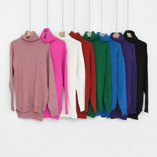 多采多姿高領針織上衣,正韓,正韓商品,中大尺碼,上衣,毛衣