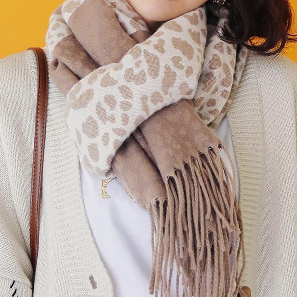 豹紋時尚暖日圍巾