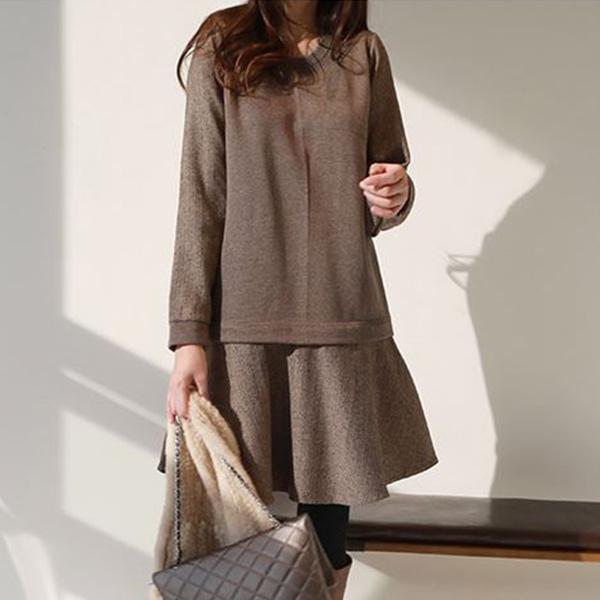 溫婉氣質拼接洋裝,正韓,正韓商品,時尚,氣質,百搭