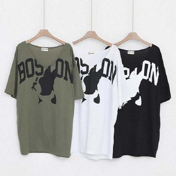 Boston狗狗V領短袖棉T,正韓,正韓商品,春夏,動物,圖案