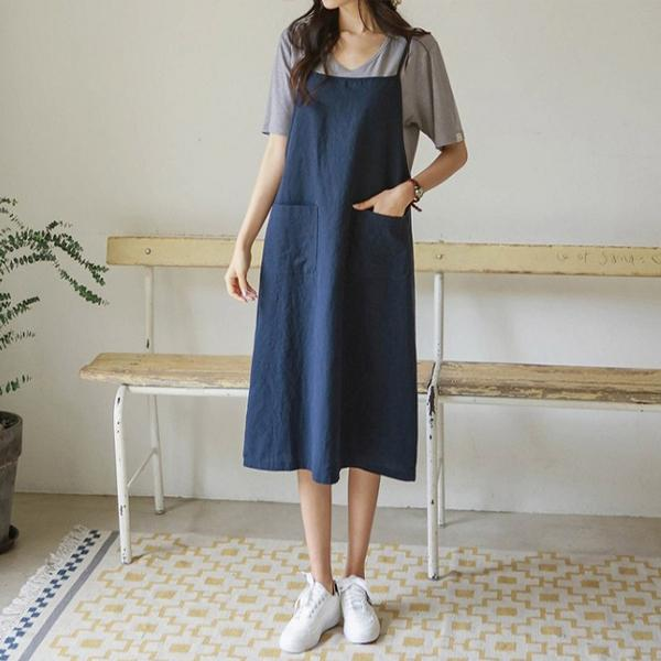 天然亞麻舒適寬鬆背心裙,正韓,正韓商品,春夏,甜美,時尚