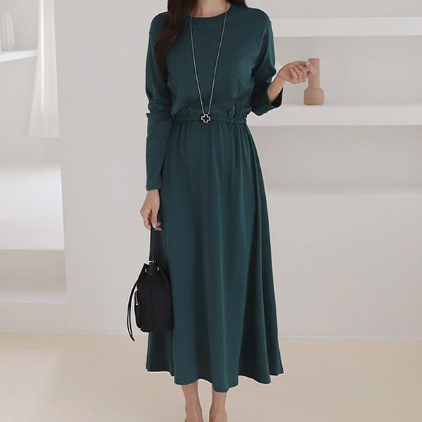 優雅氣質縮腰洋裝,正韓,正韓商品,時尚,純色,修身