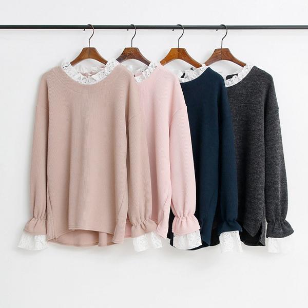 蕾絲氣質開衩上衣,正韓,正韓商品,OL,保暖,優雅