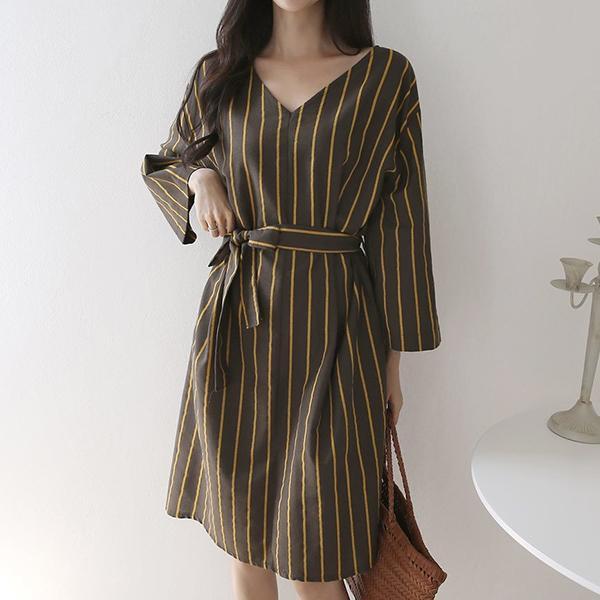 V領條紋綁帶洋裝,正韓,正韓商品,氣質,優雅,百搭
