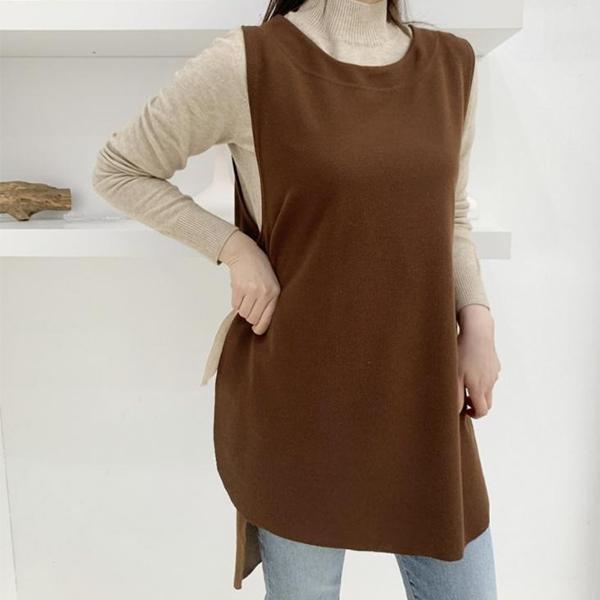 前短後長針織背心,正韓,正韓商品,保暖,舒適,百搭