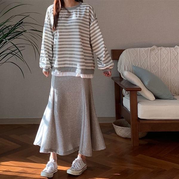 條紋魚尾長裙套裝