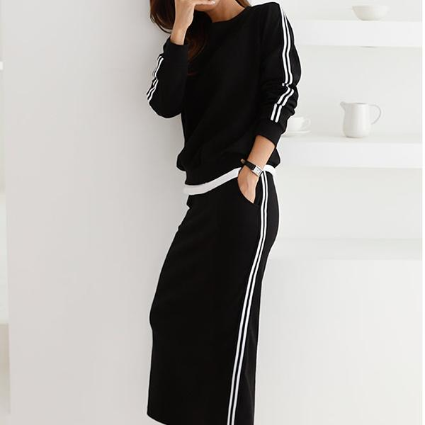 條紋性感開衩長裙套裝