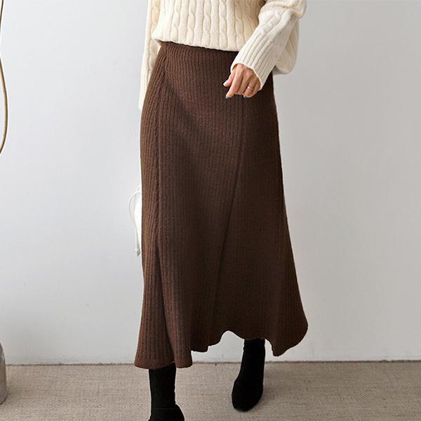 氣質純色針織長裙
