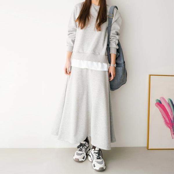 假兩件純色長裙套裝