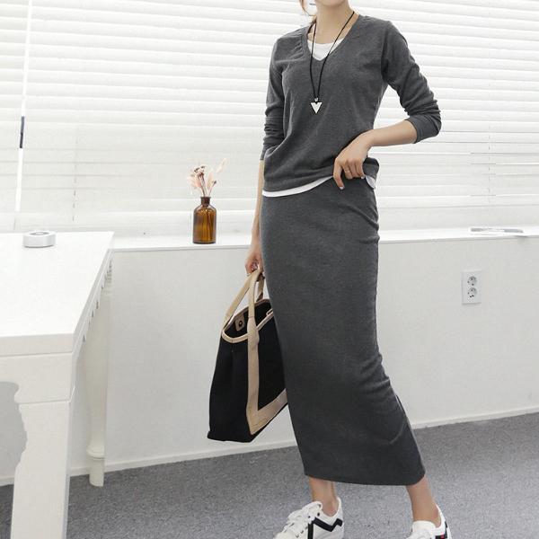 日常迷人長裙套裝,正韓,正韓商品,V領,休閒,百搭