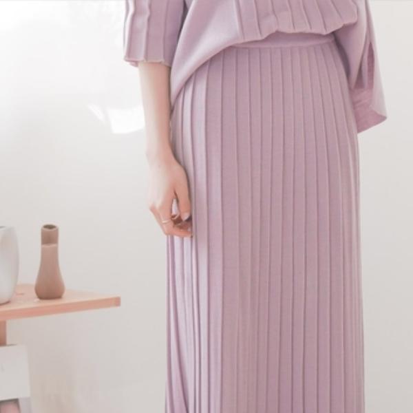 優雅氣質條紋針織長裙