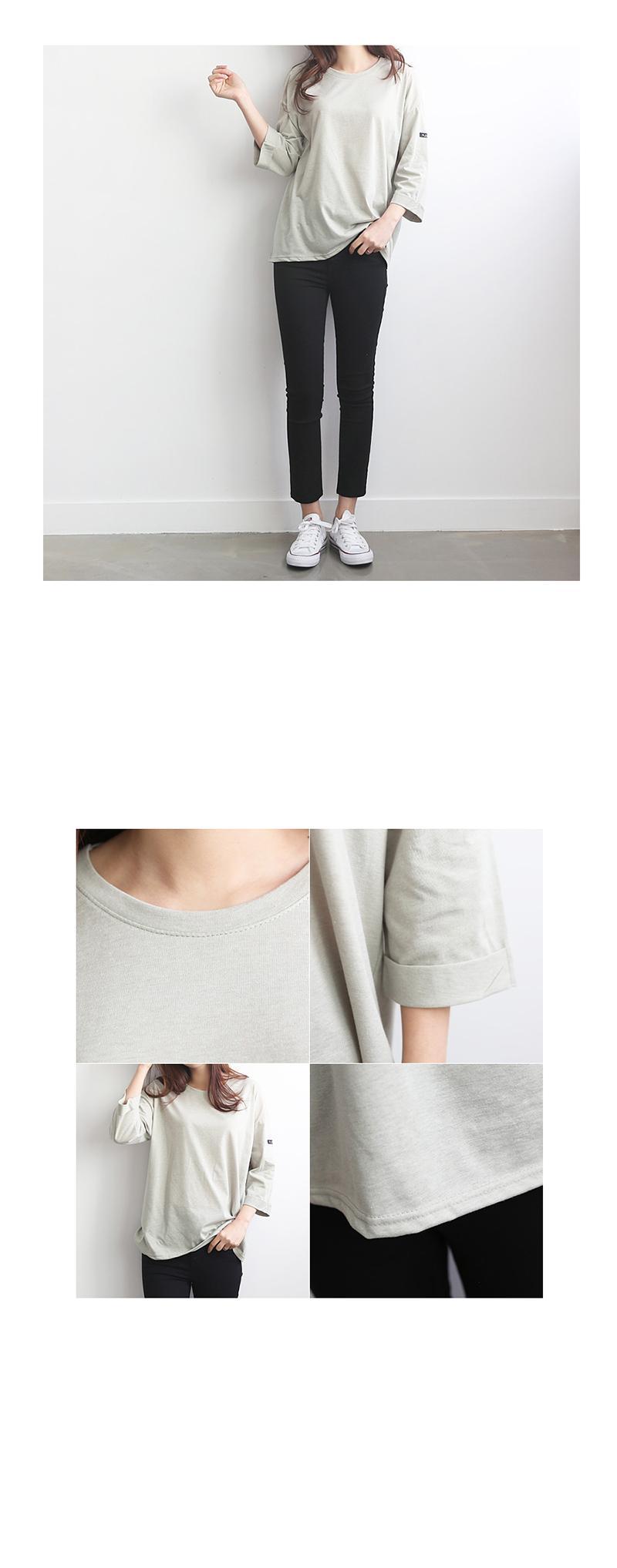 袖口反摺純色上衣
