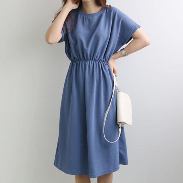 極簡縮腰顯瘦中長洋裝