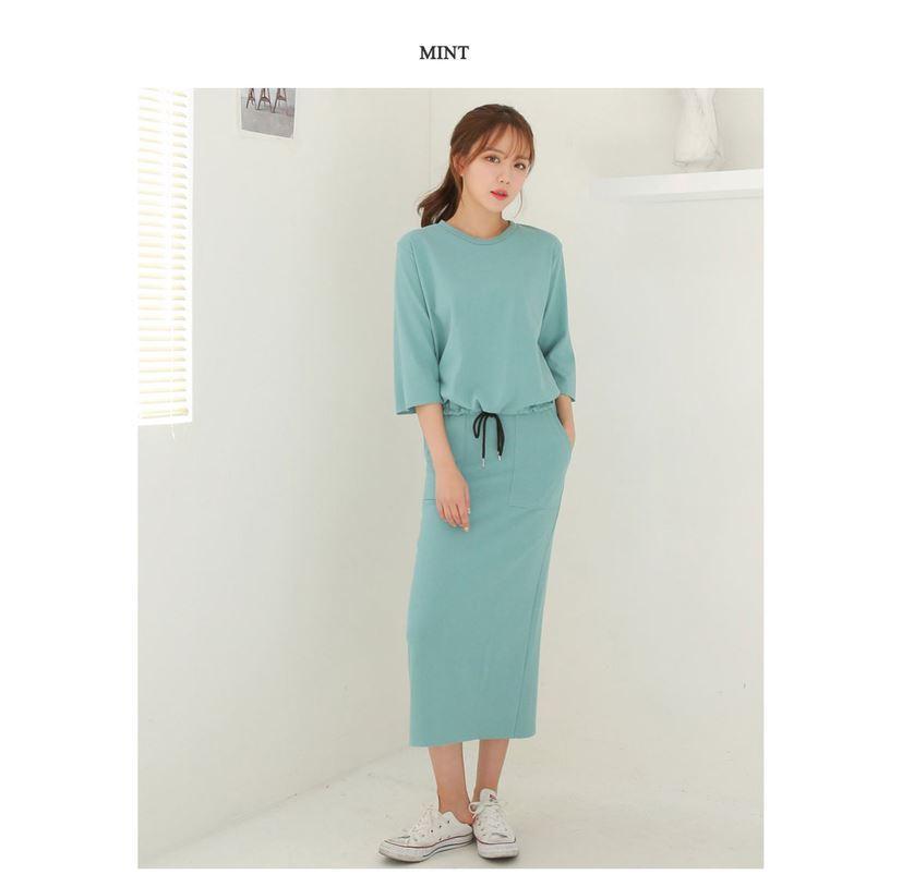 素色百搭長裙套裝