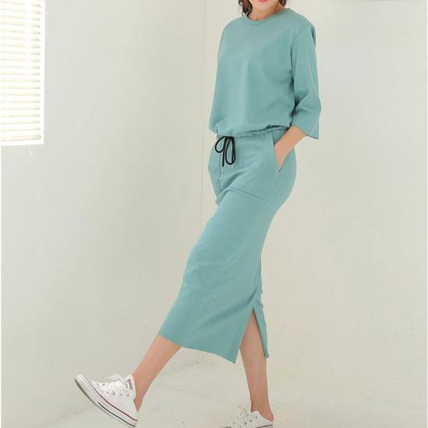 素色百搭長裙套裝,正韓,正韓商品,素色,百搭,長裙套裝
