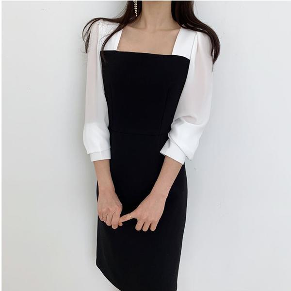 時尚拼接方領洋裝