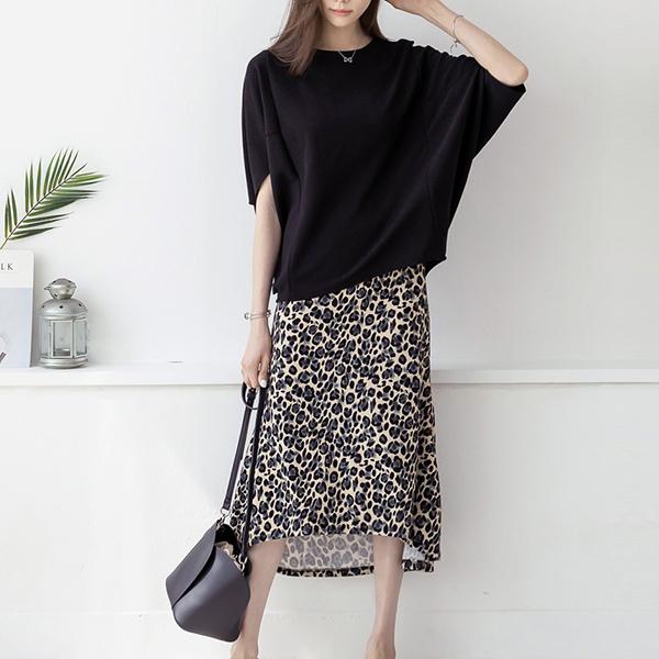 嚴選時尚豹紋長裙套裝
